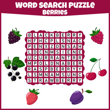 Word search puzzle. Crossword with berries. Fresh berries. Vector education game for children. Mini-game for children. Crossword for kids.