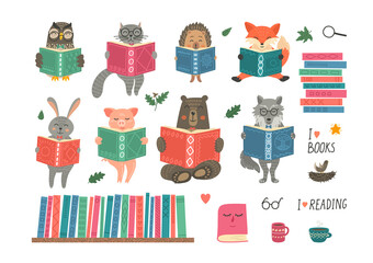 Animals reading book. Set from cute fantasy hand-drawn animals: cat, hare, fox, owl, rabbit, wolf, bear and hedgehog. Children educational illustration.