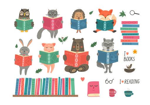 Animals reading book. Set from cute fantasy hand-drawn animals: cat, hare, fox, owl, rabbit, wolf, bear and hedgehog. Children educational illustration.