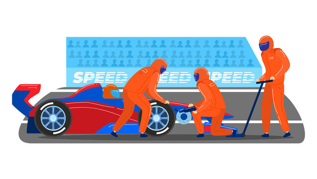 Professional pitstop team, male character together service formula 1 sport car isolated on white, cartoon vector illustration. World competition fast circuit race, tournament contest track.