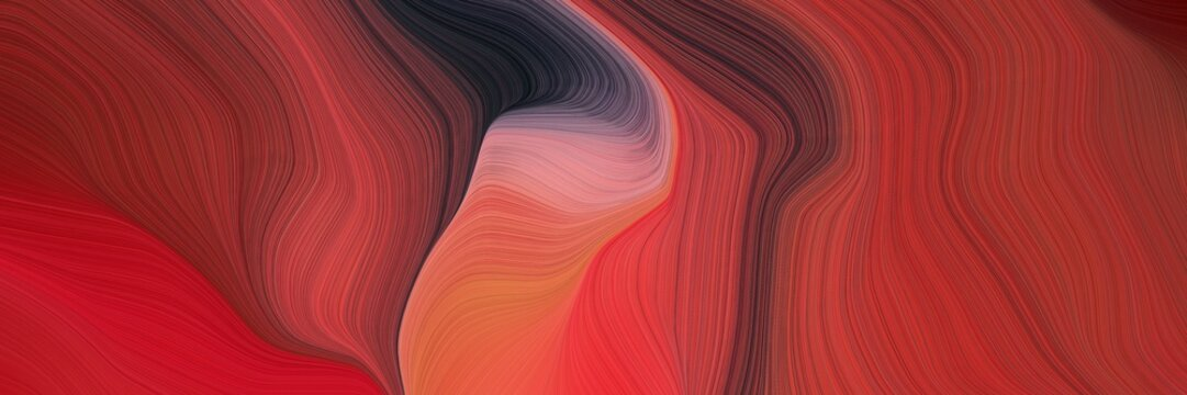 abstract and smooth modern soft curvy waves background design with firebrick, very dark blue and old mauve color