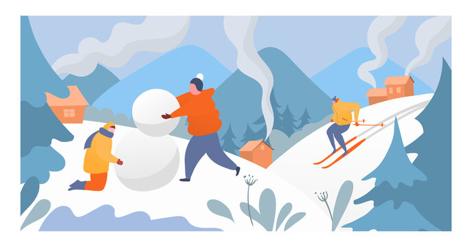 People rest mountain winter sport, character male female making snowman and sportsman skier down alpine flat vector illustration. High altitude resort holiday, person cheerfully spend time.