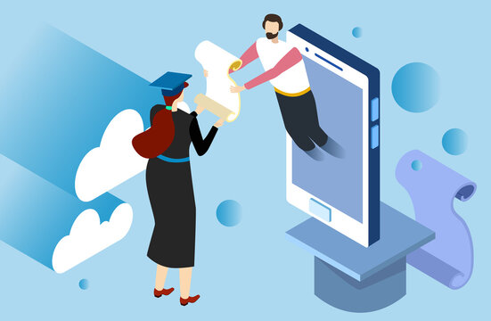 Tiny character male teacher give diploma, online education student man received higher education isometric 3d vector illustration. Concept remote internet study and learning profession future.