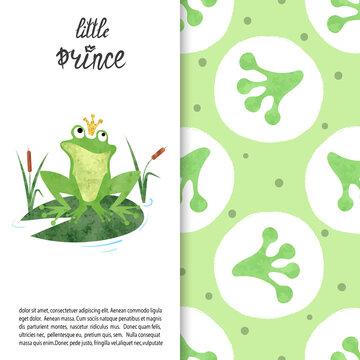 Watercolor cartoon Frog prince on lily pad vector illustration. Frog footprints pattern.