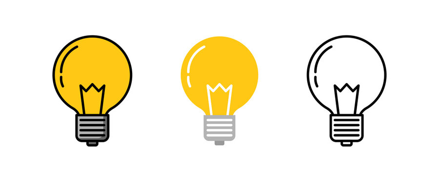 Light bulb logo icon three design, Color line, Flat lay and outline. Vector illustration