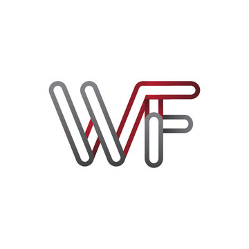 initial logo letter WF, linked outline red and grey colored, rounded logotype