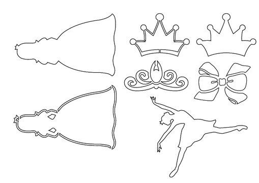 발레, 공주님 , 스텐실, stencil, 라인일러스트