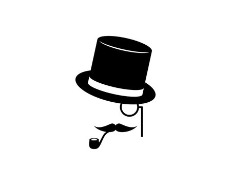 gentleman face with hat and mustache