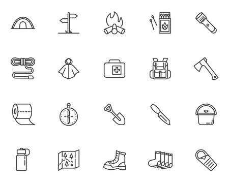 Camping hiking line icons set. linear style symbols collection, outline signs pack. vector graphics. Set includes icons as camp tent, climbing boot, backpack, raincoat, campfire, flashlight, matches
