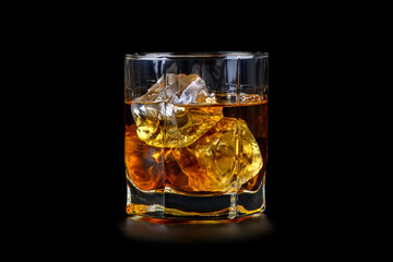 Foto op Plexiglas Bar Glass of whiskey with cube ice on black background