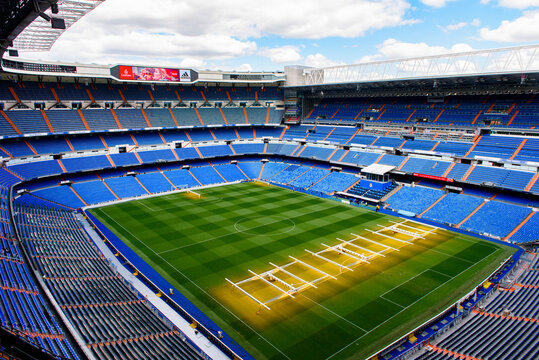 MADRID - APRIL 14, 2018: Panorama of the Santiago Bernabeu stadium, the home arean of the football club Real Madrid