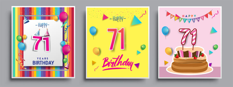 Vector Sets of 71st Years Birthday invitation, greeting card Design, with confetti and balloons, birthday cake, Colorful Vector template Elements for your Birthday Celebration Party.