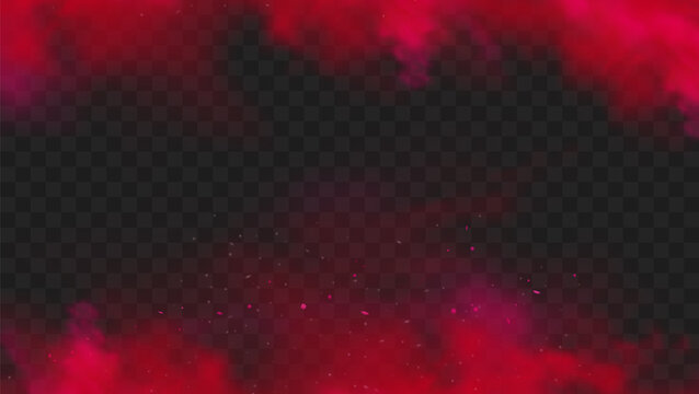 Red smoke or fog color isolated on transparent dark background. Abstract red powder explosion with particles. Colorful dust cloud explode, paint holi, mist smog effect. Realistic vector illustration