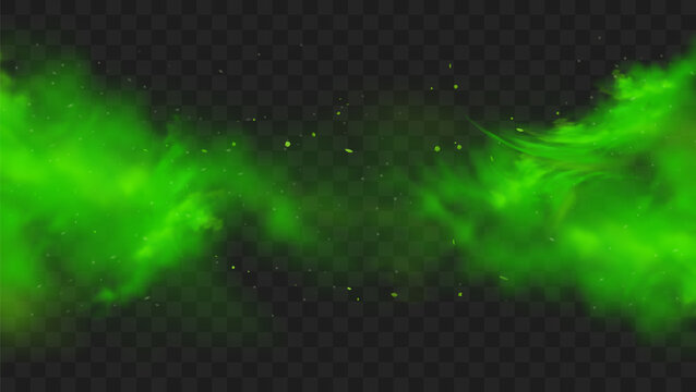Green smoke isolated on transparent background. Realistic green bad smell, magic mist cloud, chemical toxic gas, steam waves. Realistic vector illustration