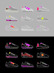 Sneakers. Set of sports shoes vector icons isolated on a light grey and on a black backgrounds.