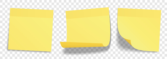 Yellow stick notes set – Realistic post-it with curled corners and shadows – Isolated vector illustration on transparent background