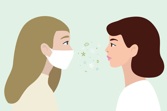 Women in protect mask from virus infection and without, in modern design.  Hand drawn vector illustration, isolated on background