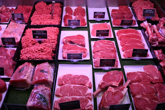 Meat is seen for sale in a butcher shop in Sydney