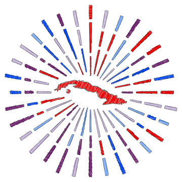 Sketch map of Cuba. Sunburst around the country in flag colors. Hand drawn Cuba shape with sun rays on white background. Vector illustration.