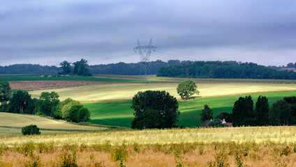 Farm land and Electricity pylon in the Brie region