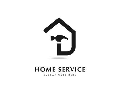 Simple line home service icon symbol logo design illustration