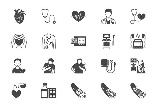 Cardiology flat icons. Vector illustration included icon as heart attack, ecg monitor, doctor, pacemaker, defibrillator, atherosclerosis black silhouette pictogram for medical cardiovascular clinic