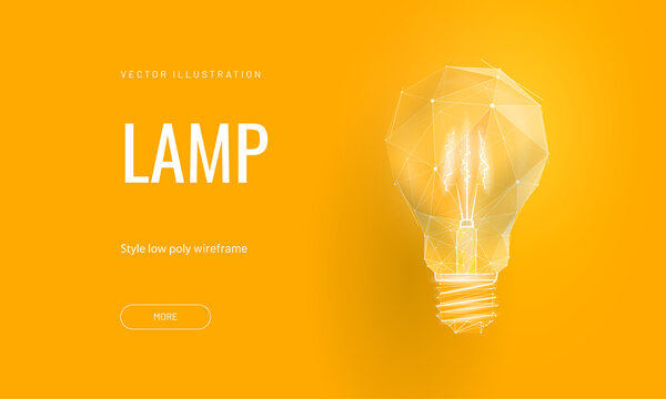 Incandescent lamp on bright yellow background in polygonal style. Landing page for start up or education or creative idea