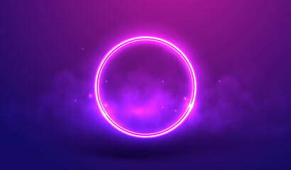 Neon ring on a violet background in fog and star dust vector illustration. Luminous round frame as a visualization of futuristic cyber space. Circle in smoke concept for for virtual reality