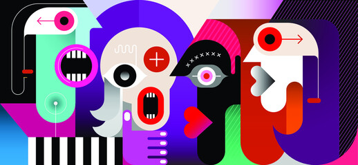 Photo sur Aluminium Art abstrait Meeting of Four People modern art vector illustration. Four friends are talking.
