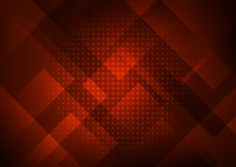 Abstract red background with geometric square shapes layer in transparent design and halftone