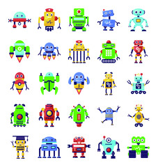 Robots and Superintelligence in Trendy Flat Icons Pack