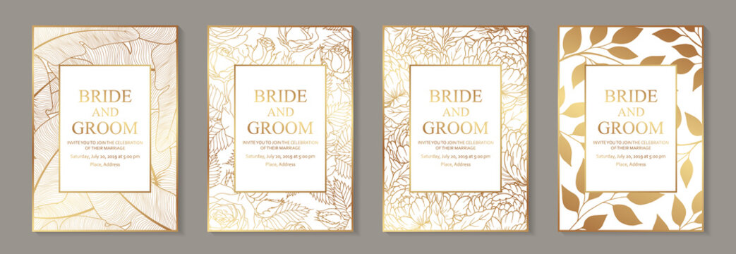 Modern luxury wedding invitation design or card templates for business or presentation or greeting with golden flowers on a white background.