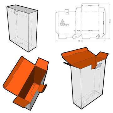 Folding Box (Internal measurement 18.2x6.7x23.4cm) and Die-cut Pattern. The .eps file is full scale and fully functional. Prepared for real cardboard production.