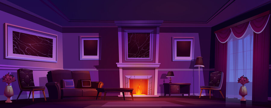 Luxury old living room, dark interior with burning fireplace, classic style furniture, leather couch, armchair and wood coffee table, floor lamp and flower vase. Night home cartoon vector illustration