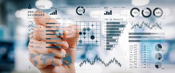 Intelligence (BI) and business analytics (BA) with key performance indicators (KPI) dashboard...