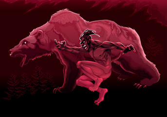 Foto op Plexiglas Kinderkamer The spirit of the bear. Vector conceptual illustration