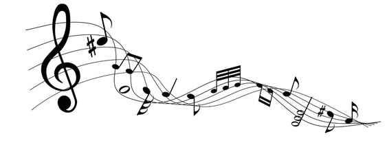 musical notes melody on white background