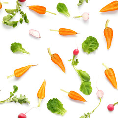 Fototapete - Vegetables isolated on white background. Food seamless pattern of vegetables: carrots, radishes, green tops. Top view, flat lay.