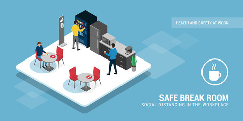 Deurstickers Wanddecoratie met eigen foto Safe break room and social distancing
