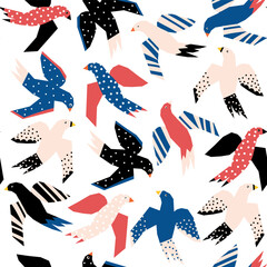 Flying birds abstract papercut style seamless vector pattern. Repeating background without Scandinavian birds.