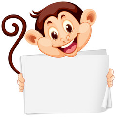Blank sign template with cute monkey on white background