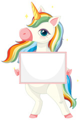 Cute unicorn holding blank banner template