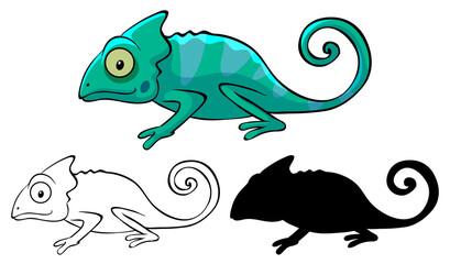 Türaufkleber Kinder Set of chameleon cartoon