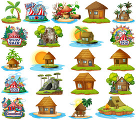 Set of different bangalows and island beach theme and amusement park isolated on white background