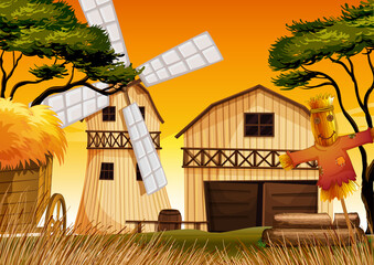 Foto op Plexiglas Kids Farm scene in nature with barn and windmill and scarecrow
