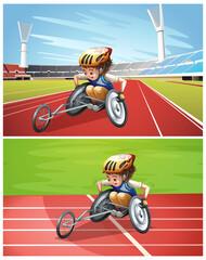 Photo sur Aluminium Jeunes enfants Male wheelchair athlete in stadium