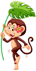 Cute monkey with green leaf on white background