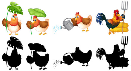 Photo sur Aluminium Jeunes enfants Set of farmer chicken