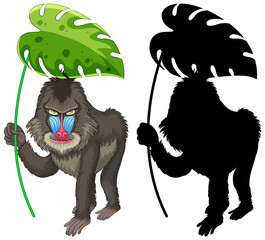 Set of mandrill cartoon and its silhouette