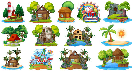 Foto op Plexiglas Kids Set of different bangalows and island beach theme and amusement park isolated on white background